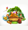 summer camp camping and adventure 3d vector image