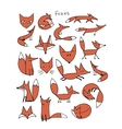 Cute fox sketch collection for your design vector image vector image