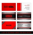 Business cards red race - first set vector image vector image