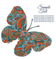 doodle zentangl drawing holiday card butterfly vector image
