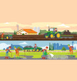 farming and agriculture horizontal banners vector image