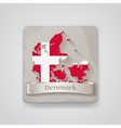 Icon of Denmark map with flag vector image vector image