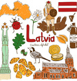 Collection of Latvia icons vector image