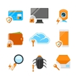 Network security flat icon set vector image vector image