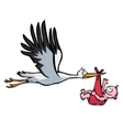 flying stork with baby vector image vector image