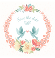 Wedding round floral frame with love vector image vector image