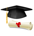 Mortarboard and diploma vector image vector image