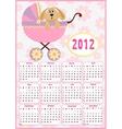 Babys calendar for 2012 vector image vector image