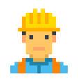 construction worker builder pixel art cartoon vector image