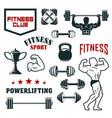 fitness sport club gym and bodybuilding icon set vector image