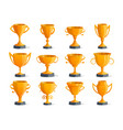 golden champion cups isolated badge set vector image