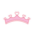pink girly princess royalty crown with heart vector image