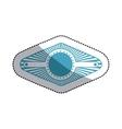 sticker blue stamp abstract art deco emblem vector image