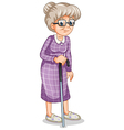 An old woman with a cane vector image