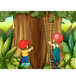 Boy and girl climbing ladder up the tree vector image vector image
