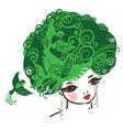 Birdy girl green vector image