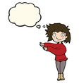 cartoon dancing woman with thought bubble vector image