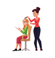 hairdresser cutting hair making haircut for woman vector image