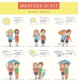 Flat weather widgets set with cute couple vector image