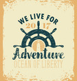 travel banner with ships helm and lighthouse vector image