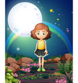 A girl standing outdoor under the bright fullmoon vector image