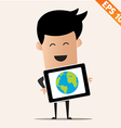 Business man with tablet PC - - EPS10 vector image