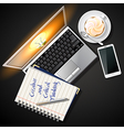 laptop and mobile phone with book and coffee vector image