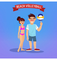 Man and Woman Playing Volleyball Man with a Ball vector image