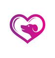 abstract pet shop love logo vector image