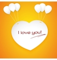Paper heart banner with balloons vector image