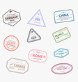 rubber visa stamps vector image