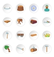 Timber industry icons set cartoon style vector image
