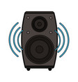 white background with loudspeaker in wood box vector image