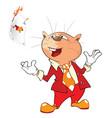 cute cat cardsharp cartoon vector image vector image