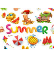 summer holiday set 3d icon vector image vector image