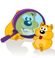 hamster and magnifying glass vector image