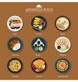 set of japanese food flat design vector image