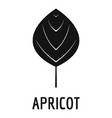 apricot leaf icon simple black style vector image