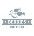 bio food berries logo simple gray style vector image