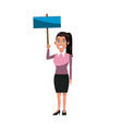 cartoon woman holding blank board campaign image vector image