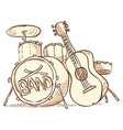 Drums and Guitar vector image