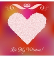 heart from pink roses with curl vector image