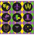 mardi gras icon set vector image