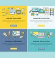 online education courses web banners set vector image