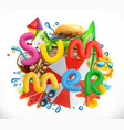 summer holiday set summer beach 3d icon vector image vector image