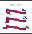 set of three ribbons with the slovak tricolor vector image vector image