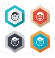 Rapper smile face icons Happy sad cry vector image