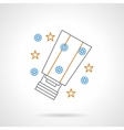 Flat color line sky lantern icon vector image