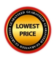 Lowest Price Guarantee Gold Label Sign Template vector image vector image