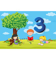 Flashcard number 3 with three children in the park vector image